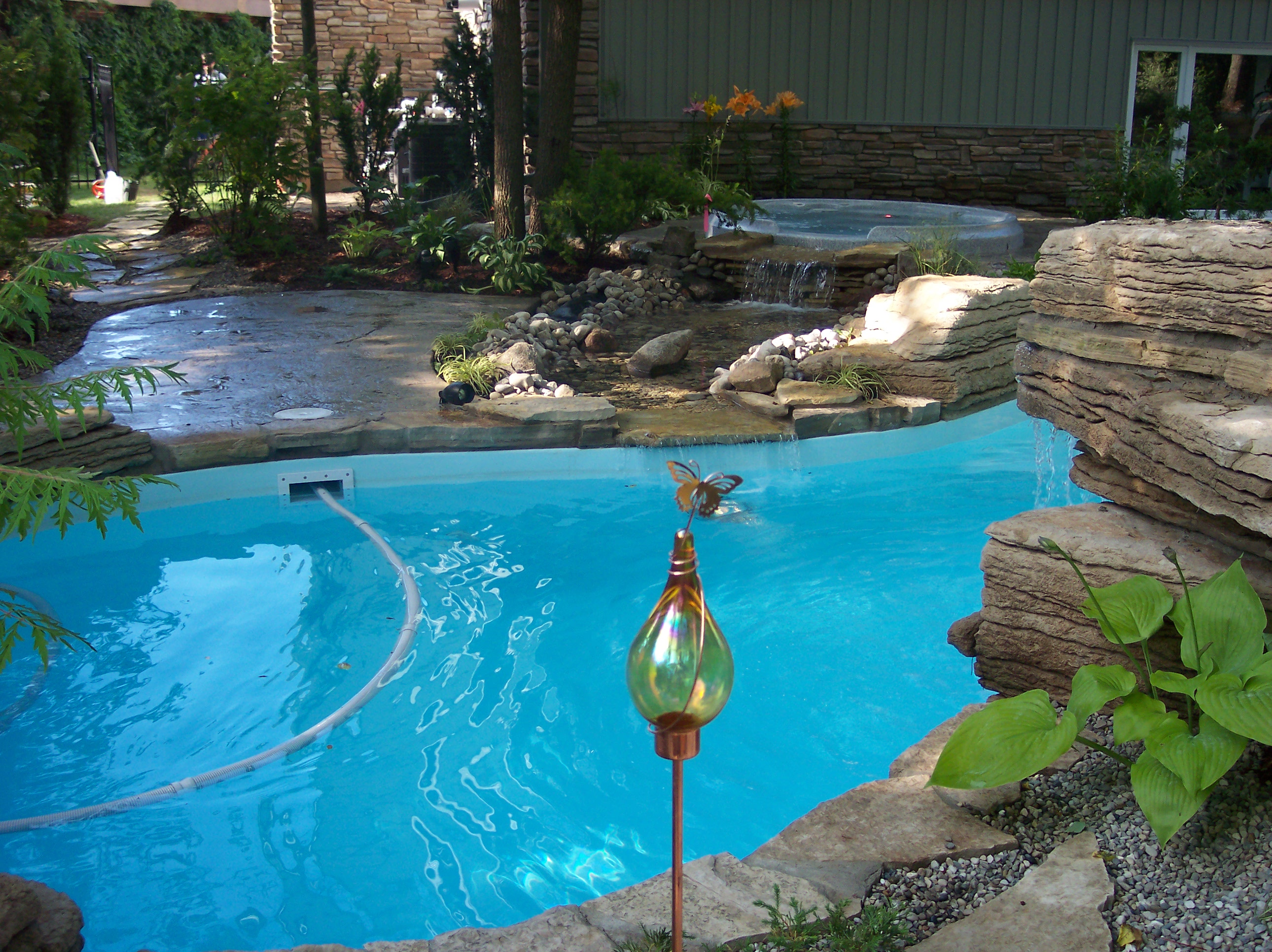 inground pools with waterfalls and hot tubs. Pools, Hot Tubs, Spas, Cambridge, Ontario, Waterfalls, Water Features, Custom Pools,pool Liners, Inground On-ground Above Ground Vinyl, Pools With Waterfalls And Tubs